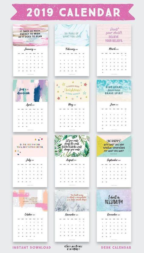 printable inspirational quotes calendar kalender
