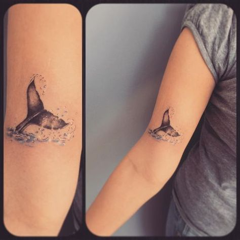 100 Whale Tattoo Design Ideas and Meaning – Orca Tattoo A small tattoo of the whale tail on the upper arm