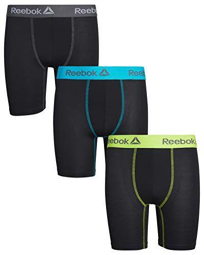 Pack of 3 Reebok Boys Performance Quick Dry Long Leg Boxer Brief