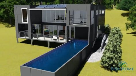 Custom Shipping Container Home Designed By Eco Home Designer Pty Ltd This Container Home Uses Custom Made 3 Container House Design Pool Houses Container Pool
