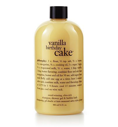 When taking your bath or shower, avoiding soap and aiming at hard working gels is your best bet. Vanilla Birthday Cake Shampoo, Shower Gel & Bubble Bath by Philosophy is an even better bet when washin #philosophyskincare