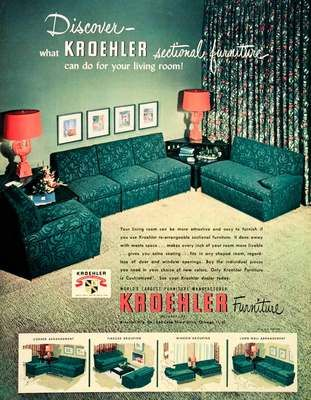 A Gorgeous Vintage 1950 Advertisement For Kroehler Furniture. The Kroehler  Turquoise Sofa Sectional Set.