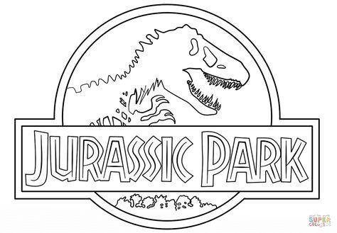 Click The Jurassic Park Logo Coloring Dinosaur Coloring Pages Jurassic Park Dinosaur Coloring