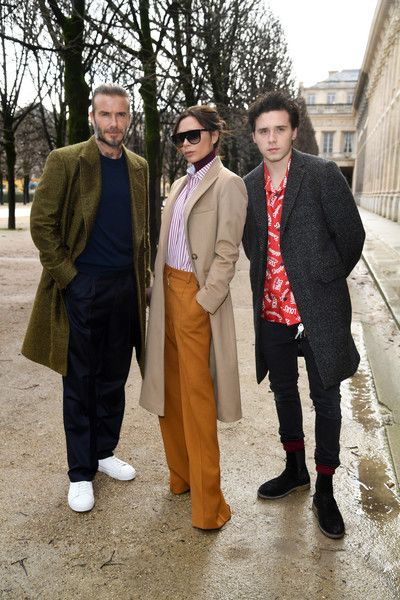 David Beckham, Victoria Beckham and Brooklyn Beckham attend the Louis Vuitton Menswear Fall/Winter 2018-2019 show as part of Paris Fashion Week on January 18, 2018 in Paris, France.