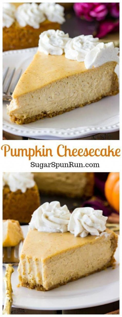 An easy creamy PUMPKIN CHEESECAKE with cinnamon whipped cream #Falldessert #pumpkinspice #pumpkindessert #Thanksgivingrecipe #pumpkincheesecake #baking #recipe #ketopumpkincheesecake