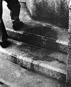 Hiroshima - Human shadow left imprinted on the steps of the Sumitomo Bank, only 250 meters from the hypocenter, at the moment of the atomic 'flash' at 8:15 am, 6 August 1945