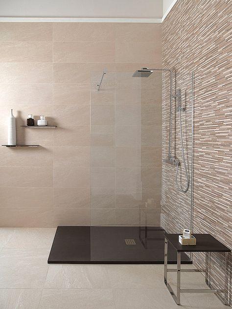Suelo carrelage azulejos Beige Douche mampara Detalles para crear baños con encanto