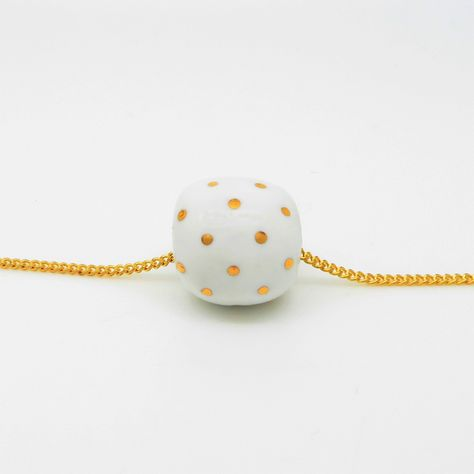 White and Gold Polka Dot Single Bead Necklace