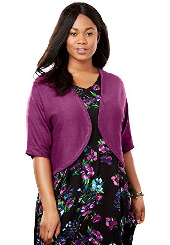 Women\'s Plus Size Rib Trim Cardigan Shrug Magenta Berry,5X | Fashion ...