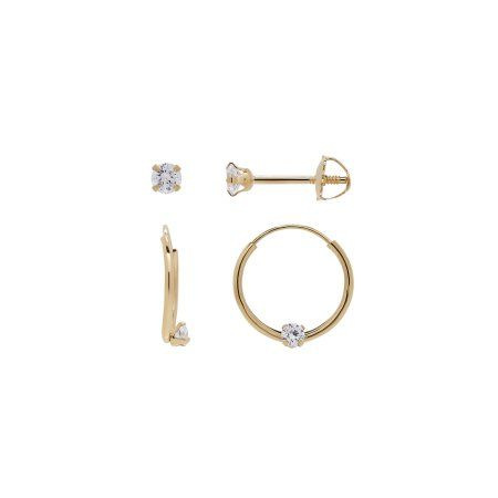 Simply Golda Kids 10k Yellow Gold Cubic Zirconia 12mm Hoop And 2 5mm Stud Earrings Set Women S Jewelry Earrings Stud Earrings Set