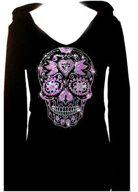 Women PLUS SIZE Sugar Skull Hoodie Sweater Bling Rhiestone pockets Zip-Up S~4XL