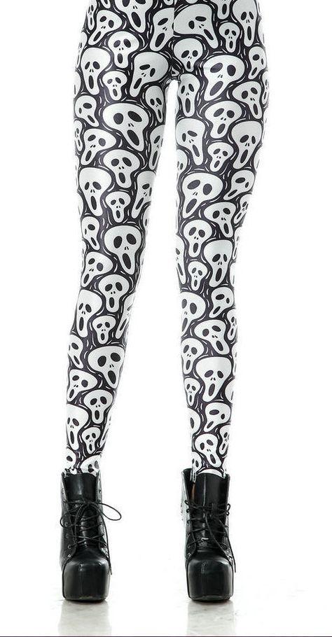 abd62eff02315 Halloween Goth Galaxy Milk Leggings Black White Boo Ghost