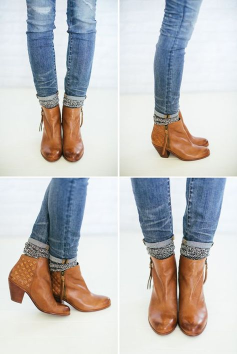 [How to Wear Ankle Booties with Socks - give your jeans 2 little rolls (Madewell Skinny Jeans: Rip & Repair Edition), slip on thicker camp socks (J.Crew), bunch them up, & tuck them under your jeans, slip on ankle booties (Sam Edelman - Lucille in whiskey)]