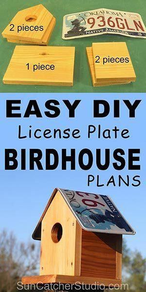 Free simple Birdhouse plans to attract birds to your backyard and garden. This bird house makes a great family project that the kids can help build. Bird House Plans (Recycle an Old License Plate) Recycled Bird House Kits recycledb Homemade Bird Houses, Bird Houses Diy, Fairy Houses, Wooden Bird Houses, Bird Houses Painted, Bird House Feeder, Bird Feeders, Funny Bird, How To Build Abs