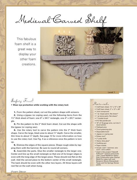 Diy Carved Foam Display Shelf - Tutorial + Pattern (e-book/page 28)