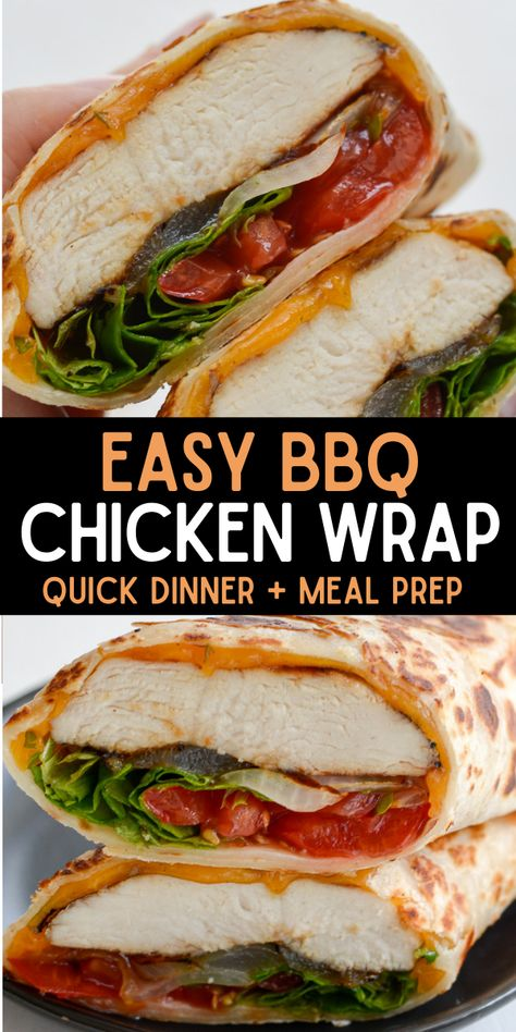 This warm tortilla wrap stuffed to the brim with tender BBQ chicken, sharp cheddar cheese, grilled onions, tomatoes and fresh lettuce is the perfect lunch on the go option! #wrap #chicken #lunch