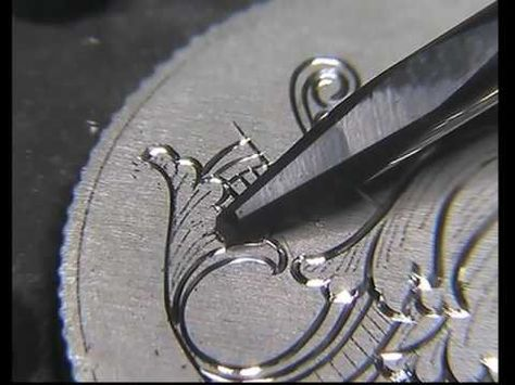 Hand engraving A close as i can get J.M. Bergling inital S on a silver sizpence - YouTube