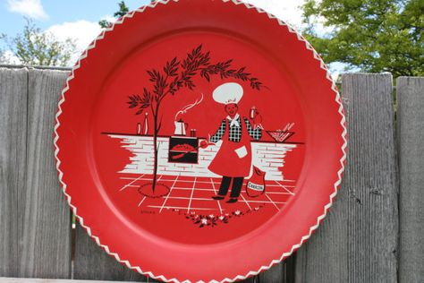 19'' Vintage Stoyke Red Metal Tray
