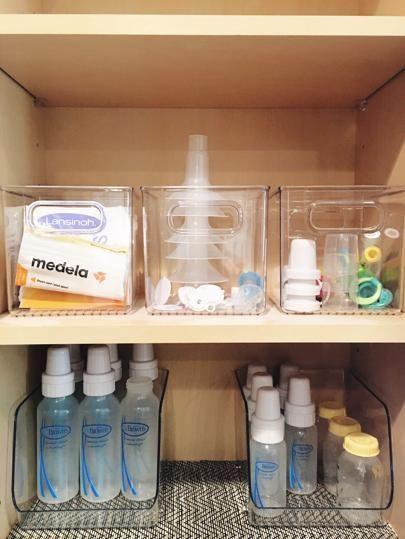 My Organized Life Baby Bottle Organization, Baby Bottle Storage, Baby Storage, Organizing Baby Bottles, Storing Baby Bottles, Baby Stuff Organization, Washing Baby Bottles, Nursery Drawer Organization, Pacifier Storage