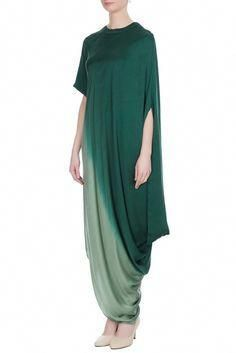 Buy Green ombre satin shaded draped dress by Urvashi Joneja at Aza Fashions : Latest Collection of Dresses by Urvashi Joneja