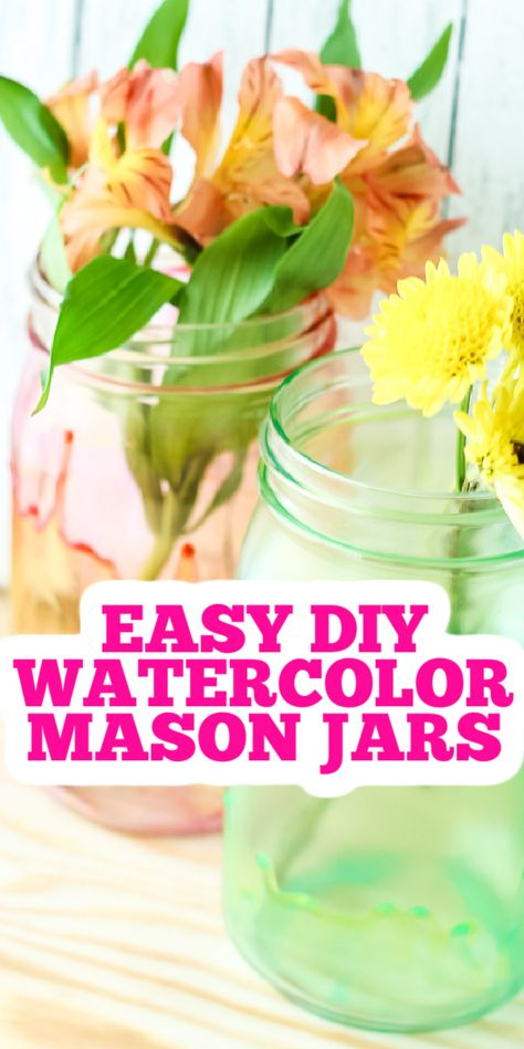 This easy painting technique will leave you with gorgeous watercolor mason jars! Use as vases or as storage around your home! #watercolor #masonjars #jars