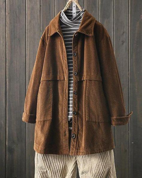 Corduroy Lapel Long Sleeve Loose Jacket for Women – Prilly outwear fashion outwear jacket warm coat outfit coats for women #fallcoats#warm#casualcoats