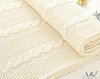 Hand Knitted Cotton White Openwork Baby Blanket In The Heart For A Baby Stroller And Eco Friendly Cot In 2020 Cotton Baby Blankets Baby Strollers Lavender Blue