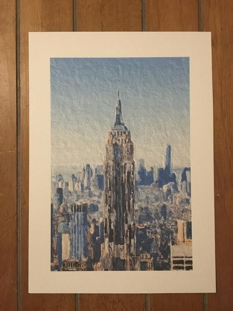Empire State Building Painting Print, Manhattan, New York, America Art, A4 Size#america #art #building #empire #manhattan #painting #print #size #state #york