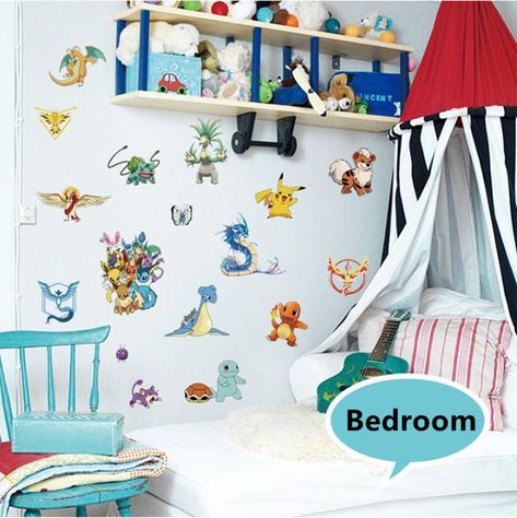 3eb4ce5b5c66 Home Décor Wall Stickers Pokemon Removable Wall Art Decals for Kids Boys  Girls *** You can get more details by clicking on the image.
