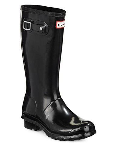 Hunter Women's Kid's Original Gloss Rain Boot Black Size