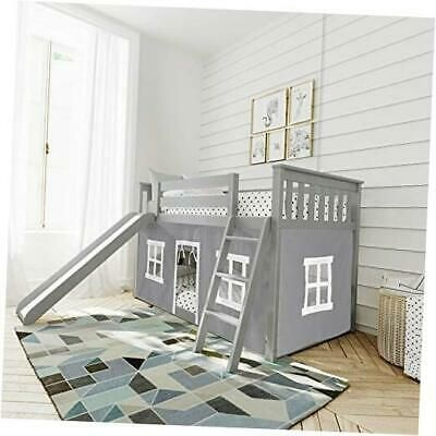 Low Bunk Bed With Slide And Curtains Twin Grey Low Bunk Slide Ebay In 2021 Low Bunk Beds Bunk Bed With Slide Bunk Beds