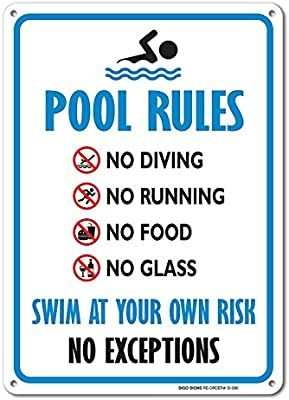 Niumea Pool Sign Swimming Pool Rule Aluminum Metal Sign Large 10 X 14 Inch Home Kitchen Swimming Pool Rules Pool Signs Pool Rules