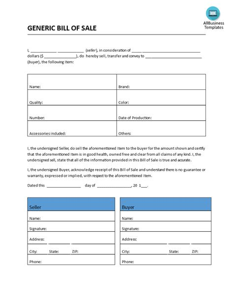 Bill of Sale Generic Form - Download this free generic Bill of - generic bill of sale