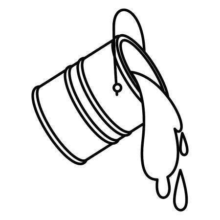 Paint Bucket Spilling Icon In Black Contour Vector Illustration Paint Buckets Doodle Paint Bucket Drawing