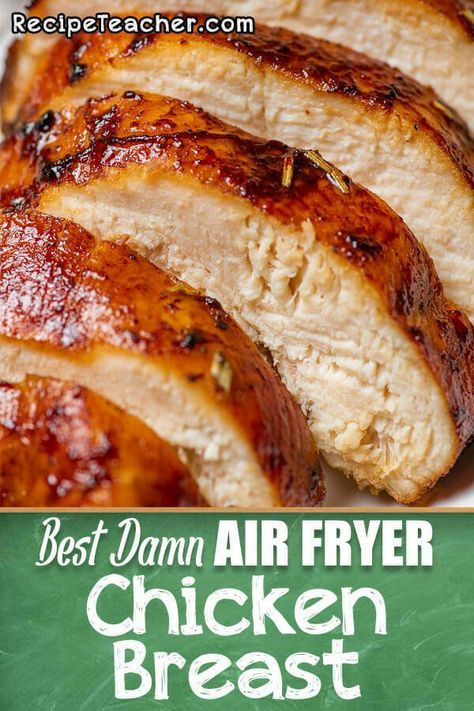 Best Damn Air Fryer Chicken Breast – RecipeTeacher Tender and juicy boneless, skinless chicken breast cooked to perfection in an air fryer. No breading! Just simple ingredients in a delicious marinade. Air Fryer Oven Recipes, Air Frier Recipes, Air Fryer Dinner Recipes, Air Fryer Chicken Recipes, Chicken Breats Recipes, Frozen Chicken Recipes, Air Fried Food, Air Fryer Healthy, Air Frying