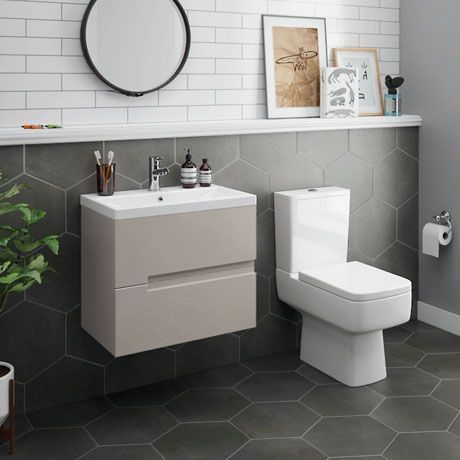 Urban 600mm Cashmere Compact Wall Hung Vanity Unit Close Coupled Toilet Victorian Plumbing Uk In 2020 Wall Hung Vanity Vanity Units Close Coupled Toilets