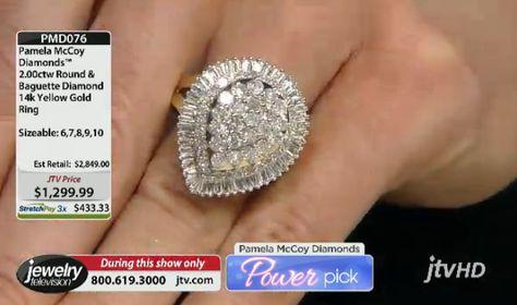 JTV Power Pick!  PMD076 Pamela Mccoy Diamonds(Tm) 2.00ctw Round And Baguette 14k Yellow Gold Ring ERV: $2,849.00 JTV Price: $1299.99