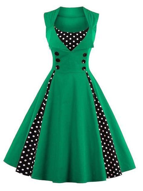 0e9fb7d8d56ec S-5XL Women Robe Pin Up Dress Retro Vintage 50s Rockabilly Dot Swing Summer  Dress #rockabilly #retro #vintage #50s