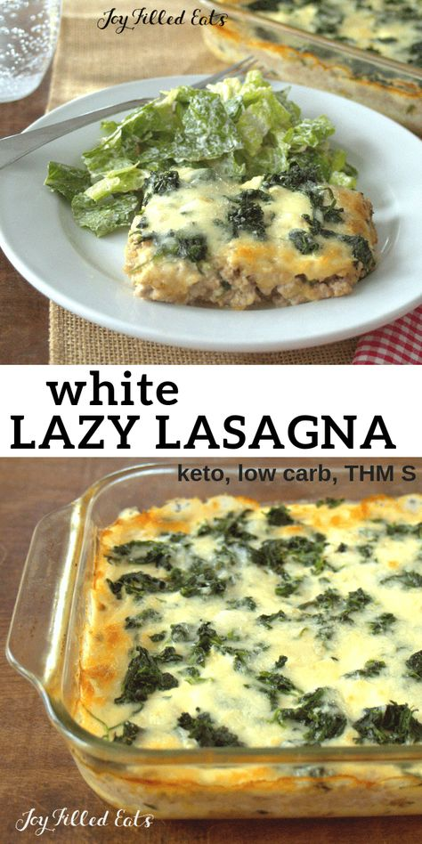 This Lazy White Lasagna is inspired by the Lazy Lasagna in the THM Cookbook. It … This Lazy White Lasagna is inspired by the Lazy Lasagna in the THM Cookbook. It uses spinach instead of noodles & is low carb, keto, gluten-free, & THM S. White Lasagna, Lazy Lasagna, Low Carb Lasagna, Chicken Lasagna, Spinach Lasagna, Chicken Sausage, Keto Chicken, Pollo Keto, Keto Recipes