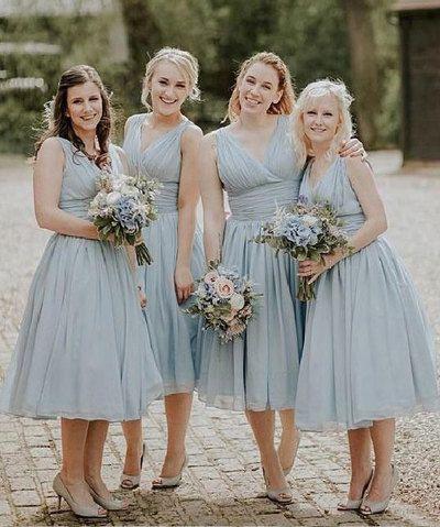Tea Length V Neck Bridesmaid Dresses Under 100 From Dressydances Tea Length Bridesmaid Dresses Blue Bridesmaid Dresses Short Bridesmaid Dresses Online