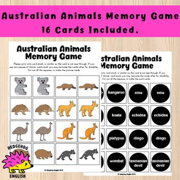 Your Students Won T Forget The Names Of These Australian Animals After Playing This Fun Memory Game The Set Includ Australian Animals Memory Games Word Cards