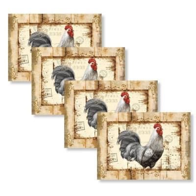 Unbranded Rustic Rooster 18 In W X 13 In L Polypropylene 4 Pack Placemat Set M635311 The Home Depot Placemats Placemat Sets Rooster