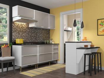 Cozinha Compacta Multimoveis Paris Com Balcao 7 Portas 4 Gavetas