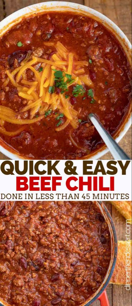 Classic Beef Chili Is A One Pot Classic Comfort Food Made With Ground Beef Kidney Beans Crushed Beef Chili Recipe Chili Recipe Easy Ground Beef Chili Recipes