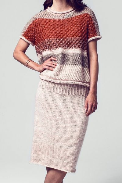 Free instructions: Knitted skirt & short sweater - initiative handmade The Initiative Handarbeit offers ideas, suggestions and free instructions for DIY in the areas of knitting, sewing, embr.