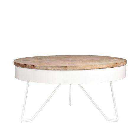 Couchtisch Tisch BRANDY MDF Weiss matt Gestell Metall 80x80 cm