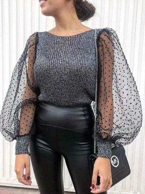 Womens Mesh Puff Long Sleeve Knitted Shirt Spring Autumn Ribbed Loose – Jartini blouses shirts style blouses designs blouses for women casual women tops shirt blouse#shirts#sweatheart#croptop#shirtdesigh#fashion