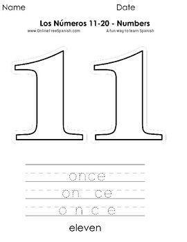 Pin On Numeros Del 11 Al 20