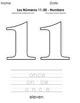 Los Numeros 11 Al 20 Numbers 11 To 20 Paginas Para Colorear