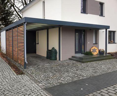 Carport Mit Eingangsuberdachung Vordach Fur Hausturen Porche Entree Maison Maison Exterieure Entree Maison